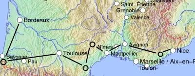 South of France Itinerary Tour map