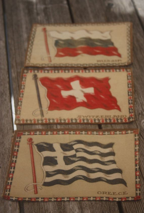 Vintage Flag Quilt Supply Patches Greece Russia and