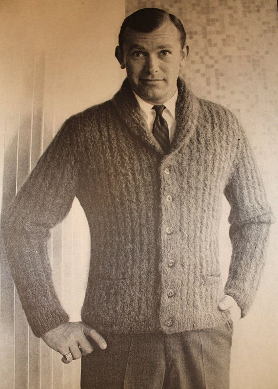 Hipster Men's Mohair Cardigan - Vintage Knitting Pattern - 1960's Mad Men style (62A16)