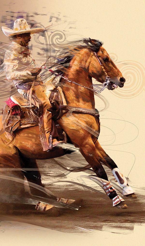 Lencho Ríos calando su caballo