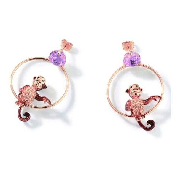 Misis - Cheeky Monkey Earrings ($405) ❤ liked on Polyvore featuring jewelry, earrings, animal earrings, zebra earrings, giraffe jewelry, horse jewelry and monkey jewelry