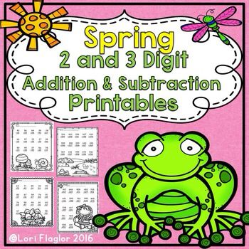 Adorable spring themed printables to practice 2 and 3 digit addition and subtraction with regrouping. Ready to print and go.