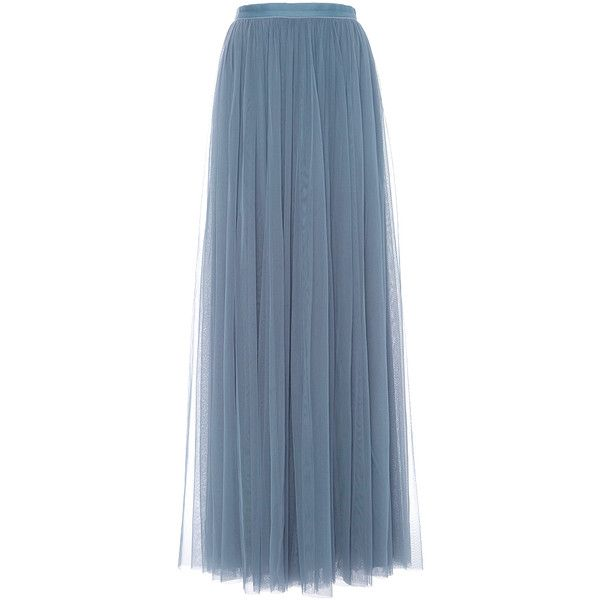 Needle & Thread     Tulle Maxi Skirt ($240) ❤ liked on Polyvore featuring skirts, light blue, long pleated skirt, blue tulle skirt, light blue skirt, long skirts and high waisted pleated skirt