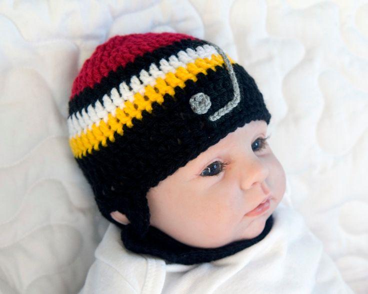 BABY HOCKEY HELMET, Calgary Flames pacifier not included, Crochet Baby Hockey, Knit Baby Hockey Helmet, Black Red Gold, Knit Baby Hockey Hat by Grandmabilt on Etsy