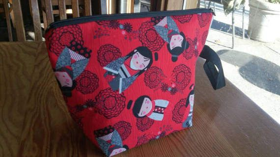 Knitting Project Bag  Harajuku Red by thingsbylengleng on Etsy