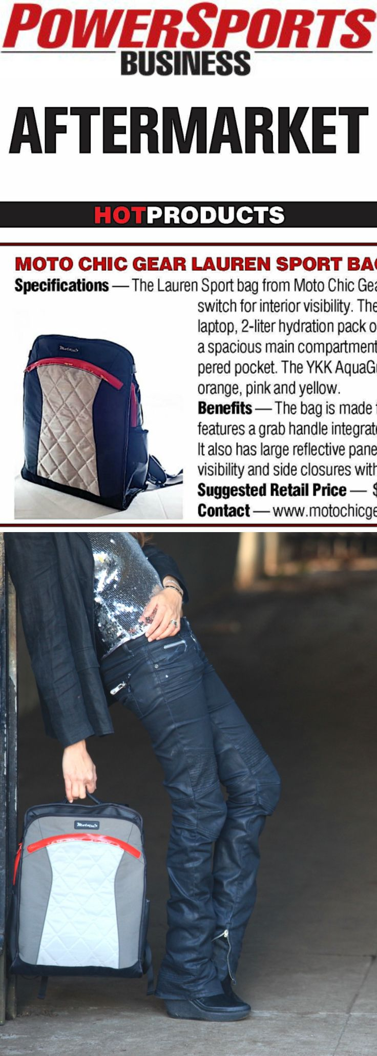 """POWERSPORTS BUSINESS MAGAZINE AFTERMARKET """"TOP PRODUCTS"""": The MotoChic Gear Lauren Sport Backpack Tote. Fashionable and functional features include 100% cruelty-free materials, interior LED light, reflective exterior safety panels, locking side closures for wind resistance. backpack / tote bag / vegan backpack / vegan tote bag / ladies backpack / womens backpack / motorcycle bag / motorcycle backpack"""