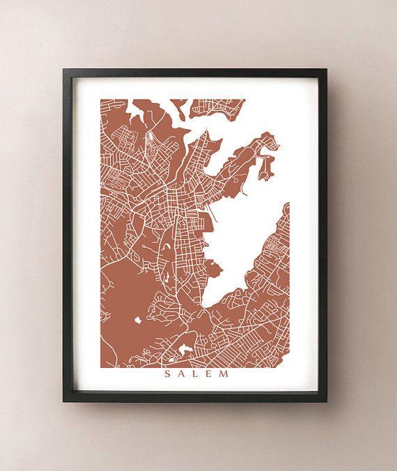 Salem Map  Massachusetts Poster Print by CartoCreative on Etsy, $20.00