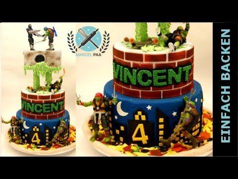 (9) Ninja Turtles Motiv Torte zum Kindergeburtstag I Einfach Backen - Marcel Paa - YouTube