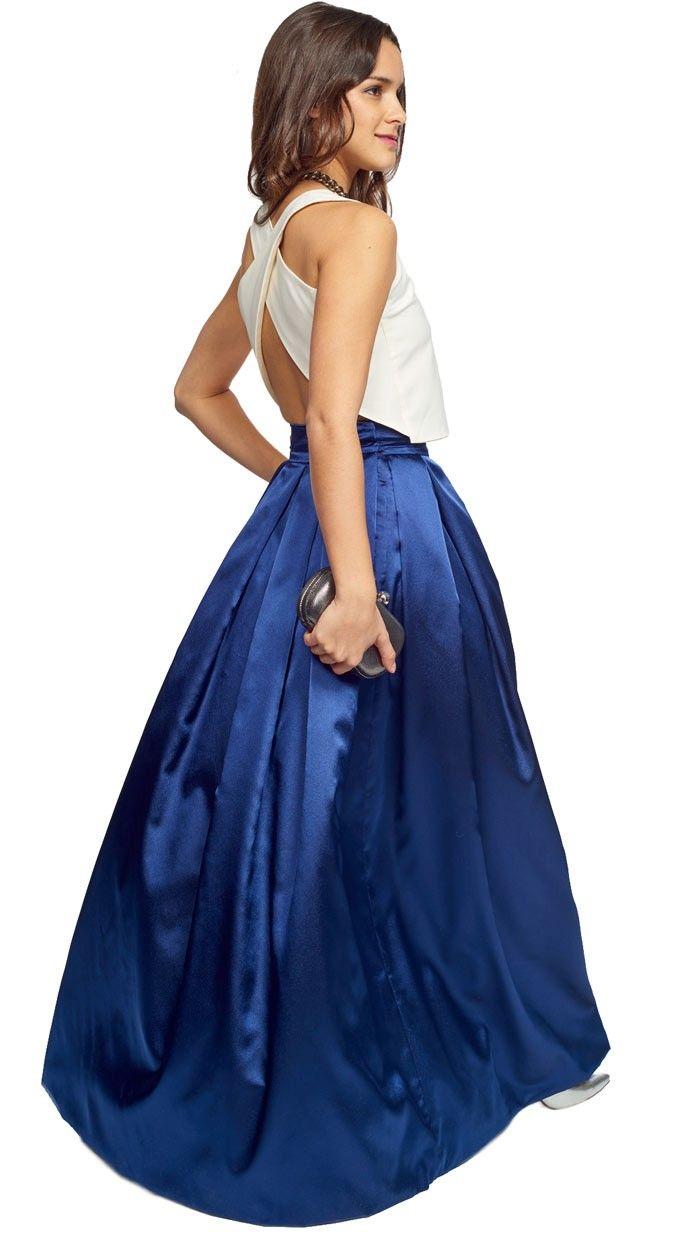 falda larga zul brillo para invitada de fiesta de tarde-noche, disponible para su alquiler on-line en dresseos.com