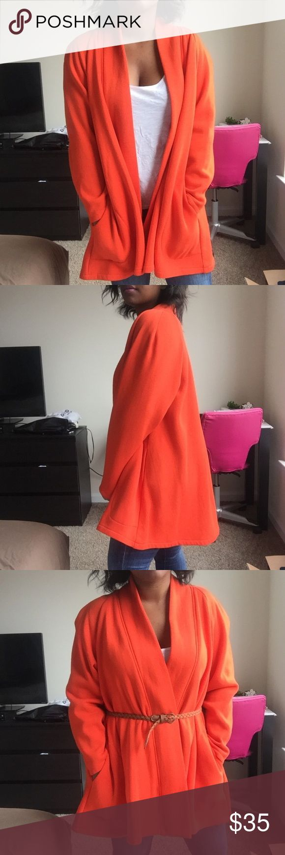 VINTAGE Orange Open Swing Coat Super soft and warm. Has pockets. I don't see a size tag - I believe it's one size fits all. Had shoulder pads but I cut them out. No stains or holes. Vintage Jackets & Coats