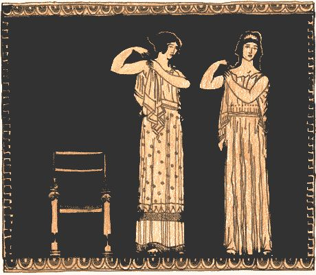 This picture shows women getting dressed in their peplos. The peplos was put over the head and was made to fit closely at the shoulder with fasteners. The arms were left bare. It was held at the waist with a girdle. The lower edge was finished with a braid. The peplos was open at the right side and hung in folds from the shoulder.