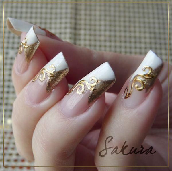40 diseños de uñas largas decoradas, ¡no te lo pierdas! decoracion de uñas  largas blanco con dorado
