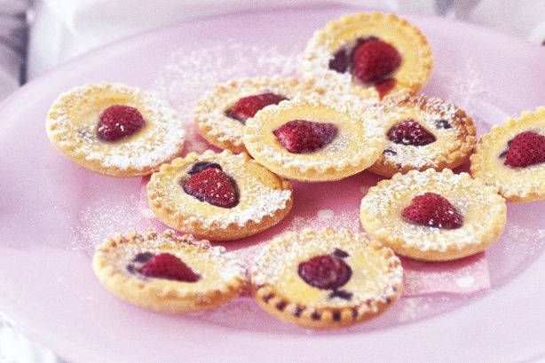 Mini strawberry custard tarts. Easy finger food. Can make the day before.
