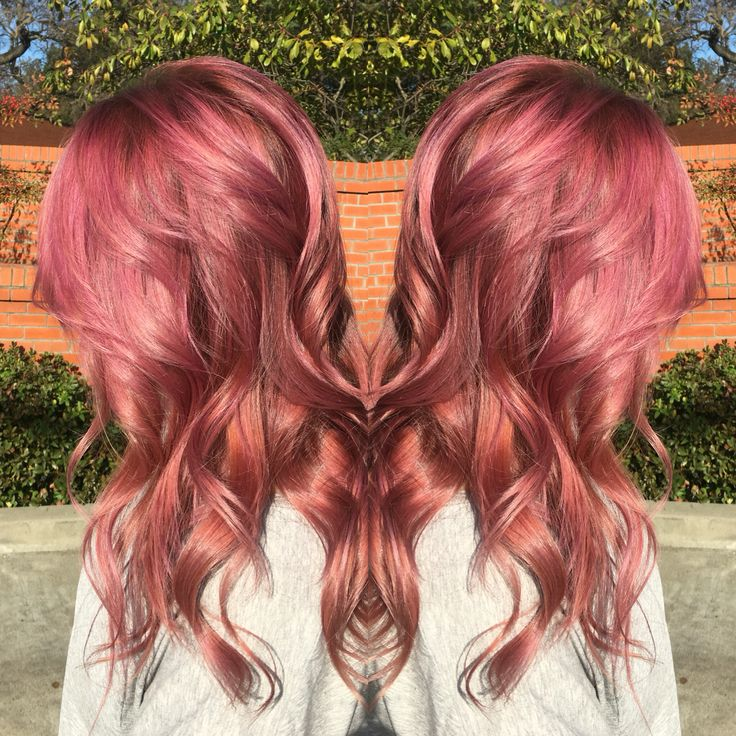 Raspberry, long layers, beach waves, pink hair, rooted, dark roots, Schwarkopf