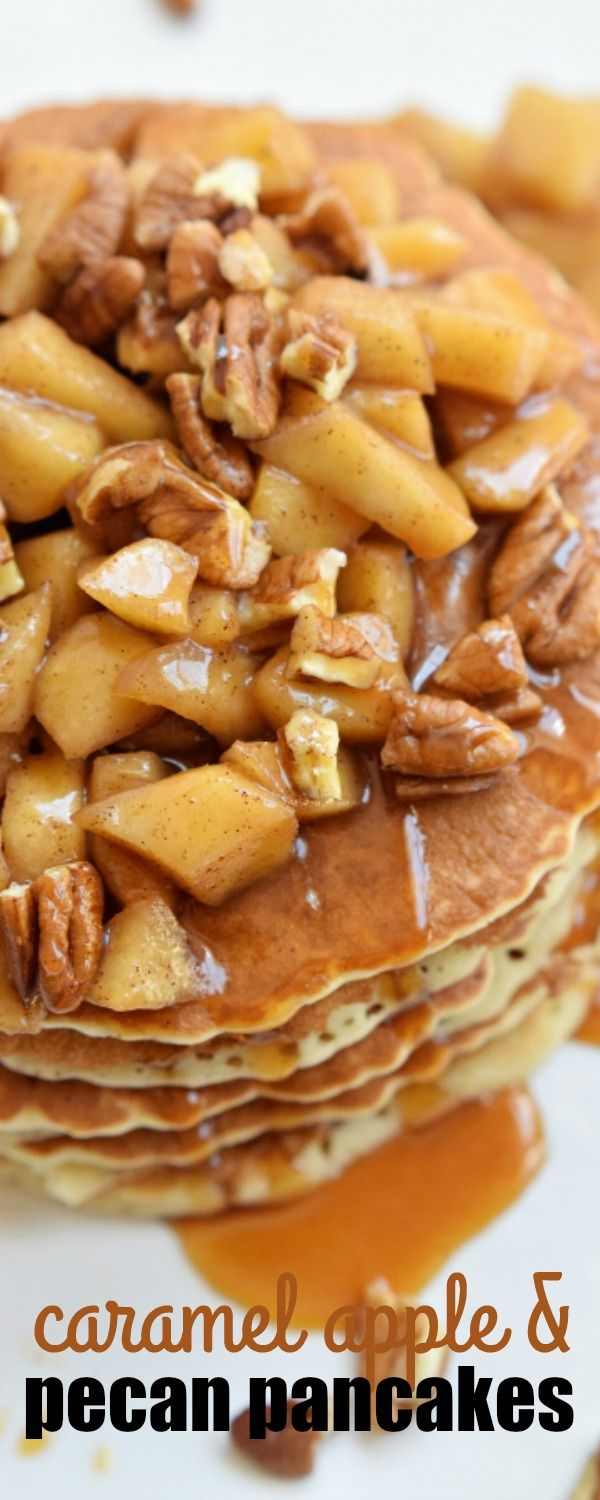 These CARAMEL APPLE AND PECAN PANCAKES are an easy breakfast packed full of the…