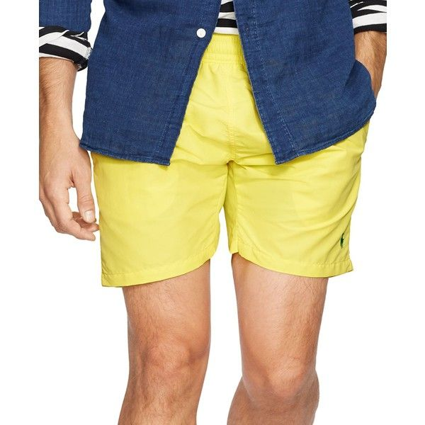 "Polo Ralph Lauren Men's 5¾"" Hawaiian Swim Boxer ($40) ❤ liked on Polyvore featuring men's fashion, men's clothing, men's swimwear, yellow, polo ralph lauren mens swimwear, preppy mens clothing, men's apparel, mens clothing and polo ralph lauren mens clothing"