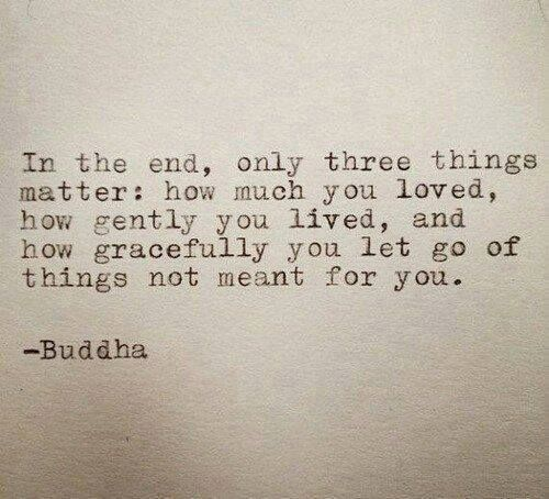 In the end, only three things matter: how much you loved, how gently you lived, and how gracefully you let go of things not meant for you.