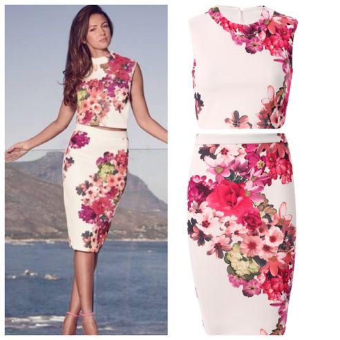 Komplet zestaw spódnica i bluzka top w kwiaty