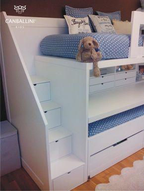 Litera con escritorio para habitaciones infantiles y juveniles. Literas con dos y tres camas. Literas con escalones. Literas con armarios. Literas para niñas y niños.