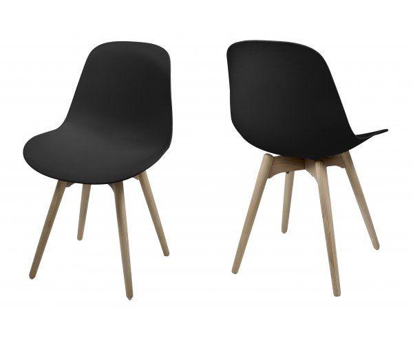 Scramble Czarne Krzesło Plastik Drewniane Nogi - 419zł