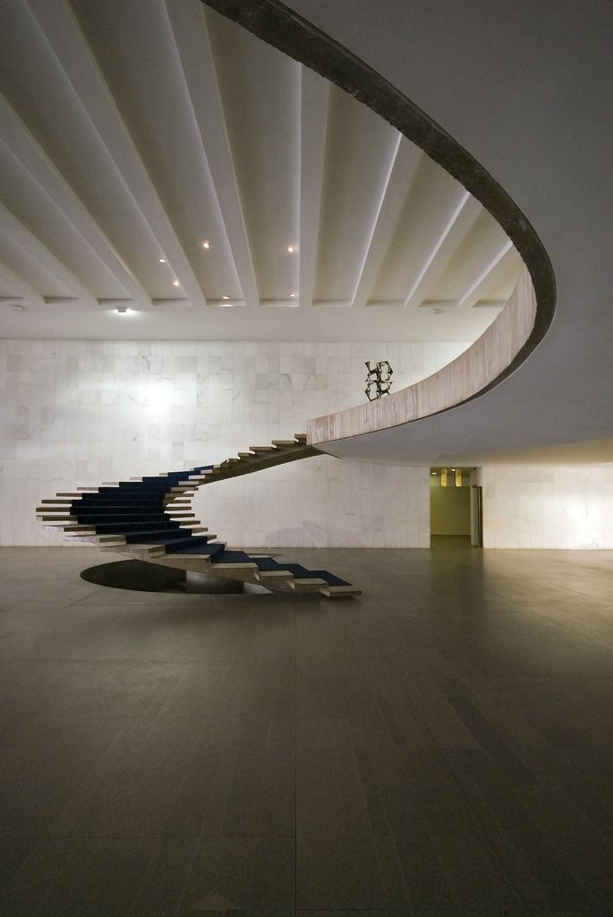 A staircase designed in 1962 by Brazilian architect Oscar Niemeyer, who remains active at 104.
