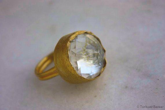 Kosem Crystal Quartz Handcrafted Ring in 22k Gold by TurkuazBazaar, $40.00