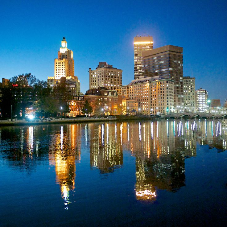 The downtown area of Providence near Providence River, RI, USA