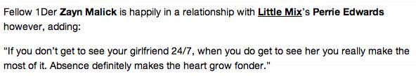 Zayn about his relationship with Perrie in Fabulous magazine.