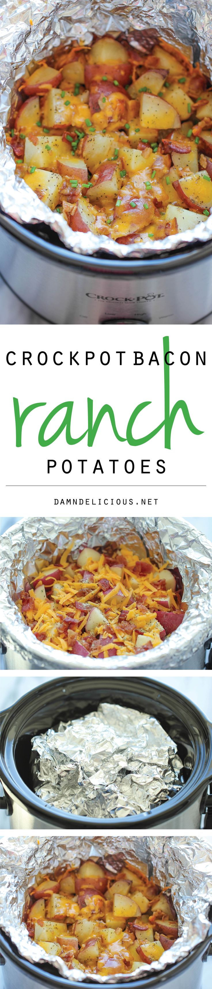 Slow Cooker Cheesy Bacon Ranch Potatoes - easy potatoes to make in the crockpot - perfectly tender, flavorful and cheesy