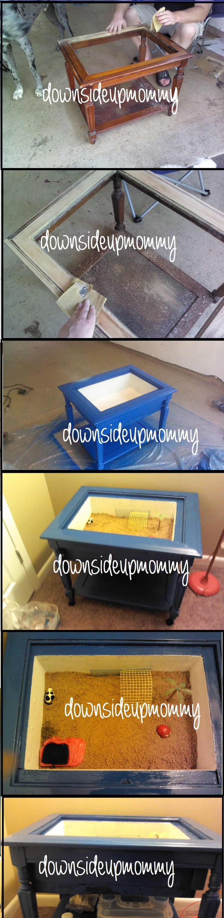 Take an old end table and turn it into a Hermit Crab home!...OMG My mom would love this!