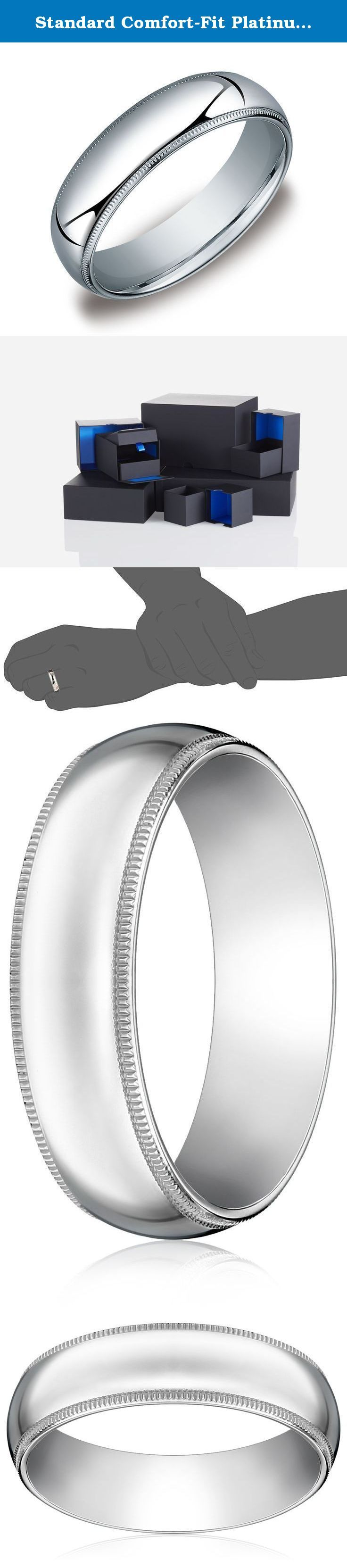 Standard Comfort-Fit Platinum Milgrain Band, 6mm, Size 9.5. Choose a solid, classic look with this 6mm comfort fit men's wedding band, crafted in strong and radiant 950 platinum. This handsome band has a bright polished finish with delicate milgrain detailing along the edges. The comfort fit design features a rounded polished interior that allows the ring to slide on easily and rest comfortably on the finger. Platinum is a beautiful and popular precious metal, valued for its extreme…