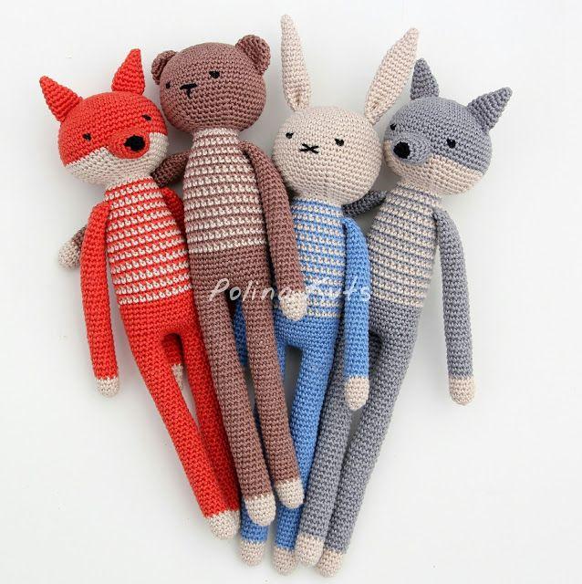 Kijk wat ik gevonden heb op Freubelweb.nl: gratis haakptronen van Polina Kuts om een vos, beer, konijn, wolf en ook nog een aap te maken https://www.freubelweb.nl/freubel-zelf/gratis-haakpatroon-vos-konijn-wolf-beer/