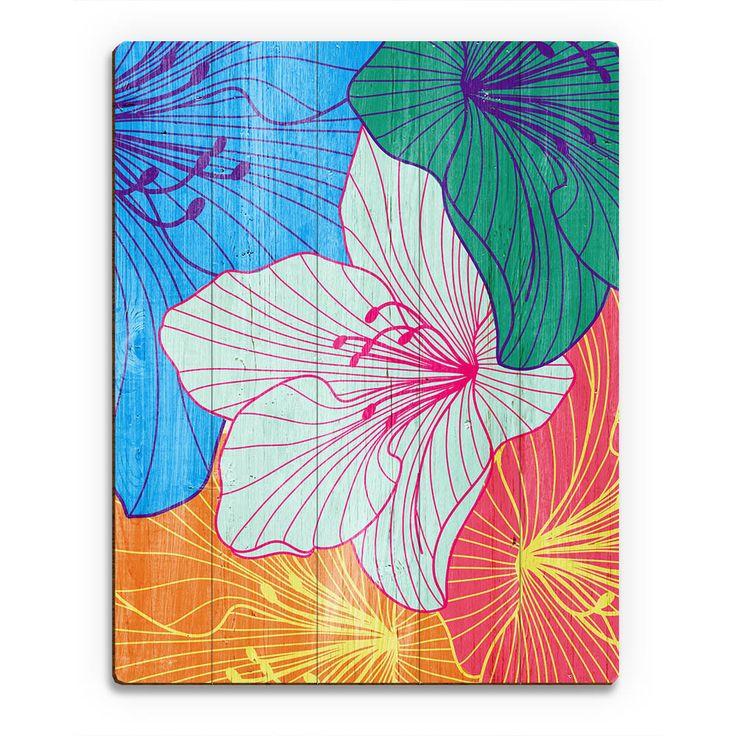 Horizon Colorful Hibiscus' Wood Wall Art