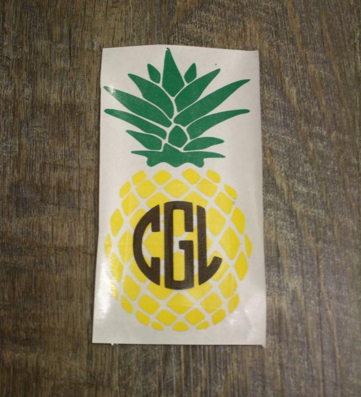 Custom Pineapple Decal Sticker with Circle Monogram