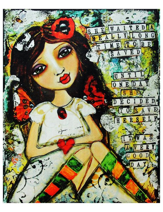 She Decided To Save Herself  Fine Art Print by chloeandsofiasmom, $18.00Inner Strength, Mixedmedia, Quote, Art Journals, Eating Disorder Recovery, Mixed Media Art, Medium, Victoria Secret Models, Journals Art