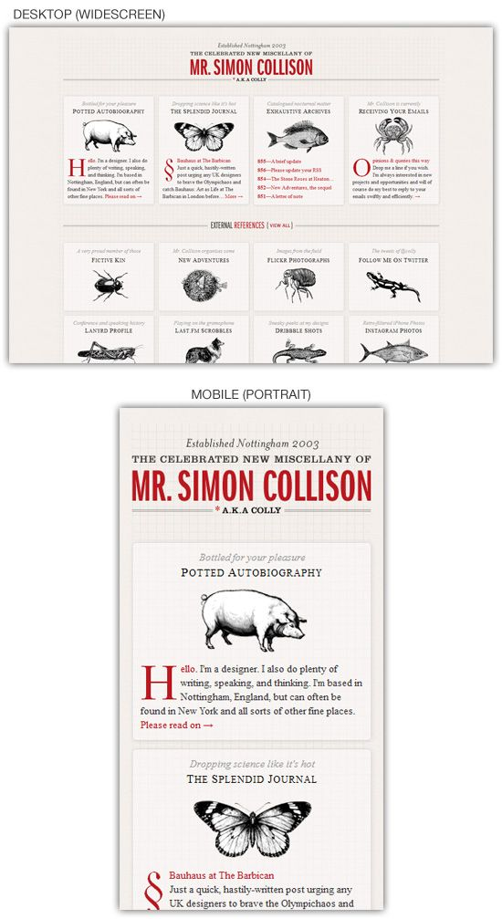 Responsive web design example: Simon Collison