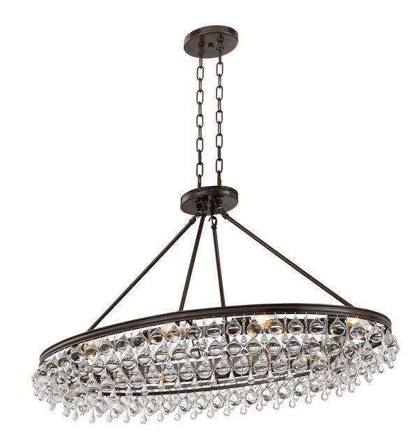 Crystal Teardrop 8 Light Oval Bronze Chandelier – Bronze Chandelier with Crystals