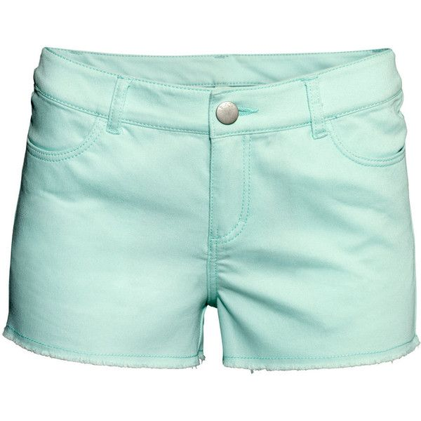 H&M Short twill shorts (290 PHP) ❤ liked on Polyvore featuring shorts, bottoms, h&m, short, mint, hot short shorts, short shorts, micro short shorts, hot pants and mint shorts