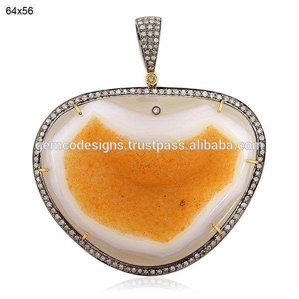 micro pave setting round cut diamond & natural agate geode gemstone designer pendant handmade wholesale designer jewelry