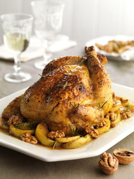 Pollo relleno con manzana y nueces