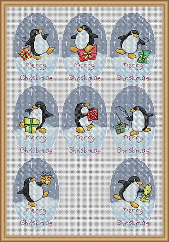Penguins Christmas cross stitch.  (My daughter loves penguins!)