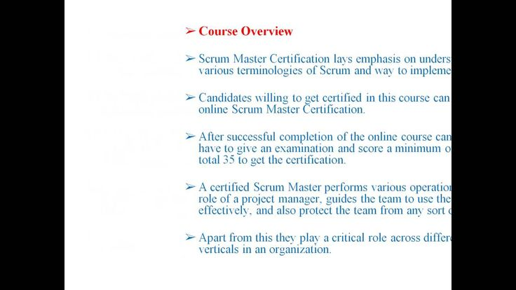 Certified Scrum Master Certification Training Online | Education ...