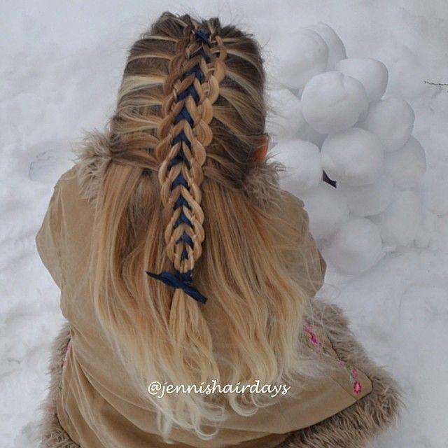 A double four strand ribbon braid by Jenni's Hairdays neliosiolettejä ja nauhaa