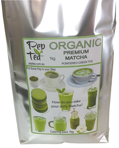 1kg Culinary grade Matcha Powder Australian Importer Pep Tea offers a mid grade #Organic #Matcha Tea for cooking in a 1kg bag with zipper reseal for freshness. See www.peptea.com.au for recipes for cooking with Matcha powdered tea.