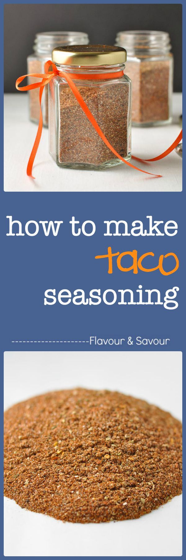 Clean-eating, homemade taco seasoning! Takes less than 5 minutes. You'll never have to buy the packaged mix again.