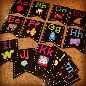 Chalkboard and Brights Word Wall Letters Bold Dot Font and KPM Doodles clip art Kindergarten Classroom Setup 2015