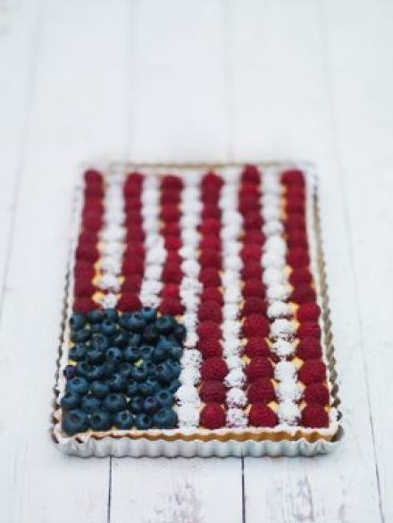 Star spangled banner in blueberries and raspberries