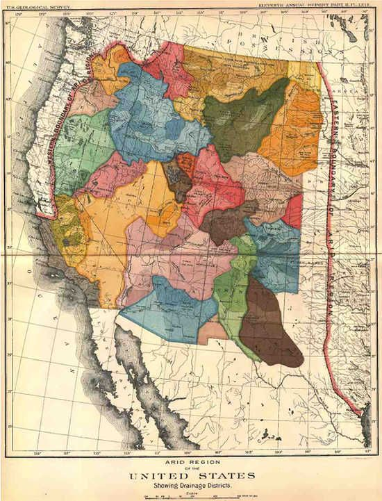 john wesley powell map of the arid region of the united states showing drainage districts 1890