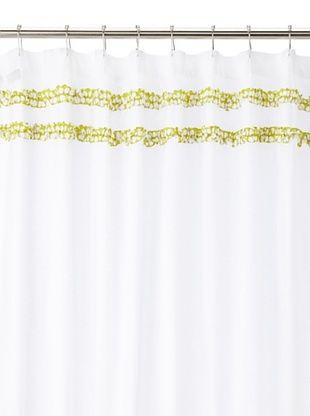 India Rose Canggu Shower Curtain, White/Lime, 72