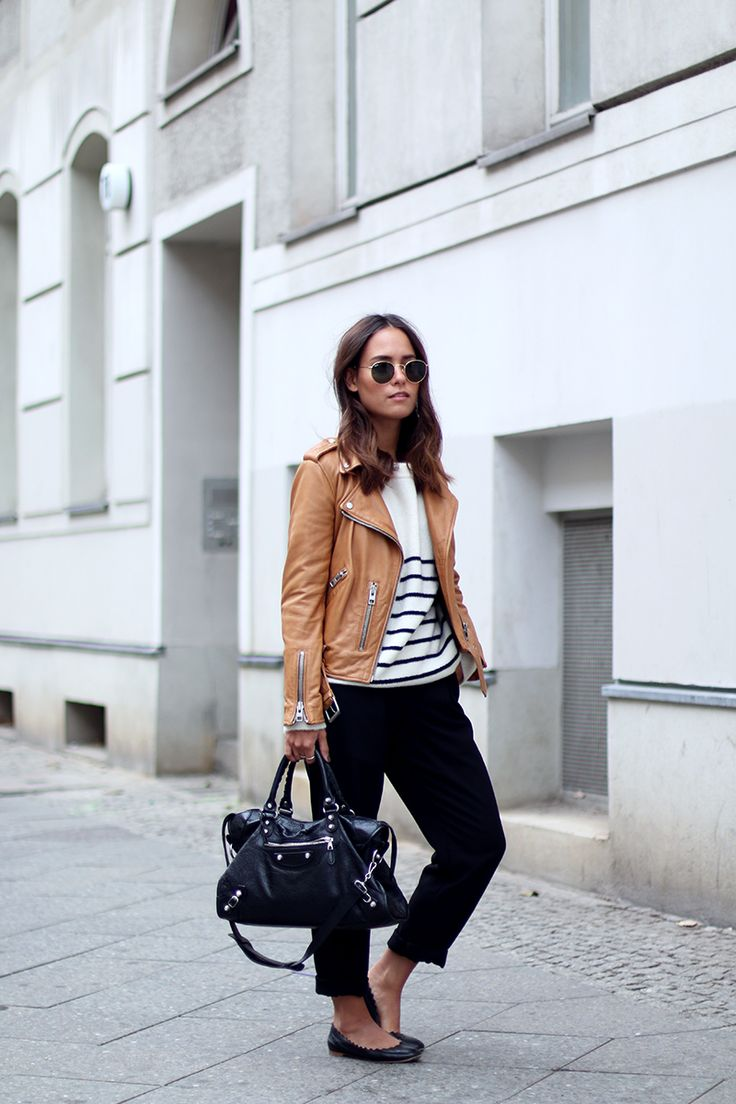 2015 Get the look: + Mango Striped Sweater + Mango Pants + Chloe Flats + Balenciaga City Bag